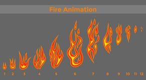 Vlakke brand sprites voor de pictogrammen van animatiekaders royalty-vrije illustratie