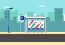 Vlakke bushalte op hoofdstraat met stadsachtergrond Thaise bushalte op weg met stedelijk Mooie cityscape sc?ne stock illustratie