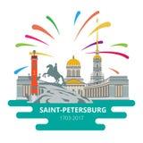 Vlakke cityscape heilige-Petersburg aan de dag van de stad royalty-vrije illustratie