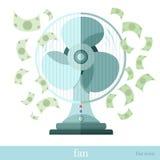 Vlakke concepten bedrijfspictogramventilator of ventilator met vliegend geld Stock Foto's