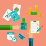 Vlakke concepten voor belastingen, financiën, boekhouding en boekhouding vector illustratie