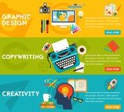 Vlakke conceptenbanners Grafisch Ontwerp, Copywriting, Creativiteit Stock Foto