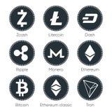 Vlakke cryptocurrenciespictogrammen van zcash, streepje, tron, bitcoin, ether stock illustratie