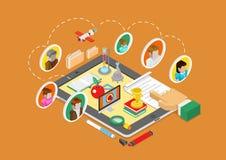 Vlakke 3d isometrische bedrijfs infographic conceptenvector Royalty-vrije Stock Afbeelding