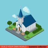 Vlakke 3d isometrische Christelijke kerk de bouwinfographics Stock Afbeelding