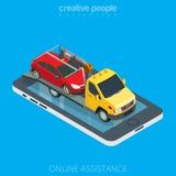 Vlakke 3d isometrische de evacuatorauto van de slepenvrachtwagen online Royalty-vrije Stock Fotografie