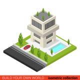 Vlakke 3d isometrische de poolbouwsteen van de flatgebouw met koopflatsherberg Royalty-vrije Stock Foto