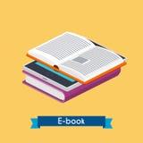 Vlakke 3d isometrische eBooklezer en boeken Online lezing E-Lea Stock Afbeeldingen
