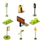 Vlakke 3d isometrische hoogte - de straat stedelijke objecten van de kwaliteitsstad pictogramreeks royalty-vrije illustratie