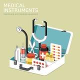 Vlakke 3d isometrische infographic voor medische instrumenten Stock Foto
