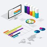 Vlakke 3d isometrische infographic voor uw bedrijfspresentaties Royalty-vrije Stock Foto's
