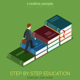 Vlakke 3d isometrische manier aan onderwijs en succes: zakenmanboek Stock Foto's