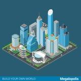 Vlakke 3d isometrische megalopolis de bouwstraat: wolkenkrabberswandelgalerij Stock Afbeelding