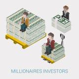 Vlakke 3d isometrische miljardair, oligarch, rijke man, miljonair stock illustratie