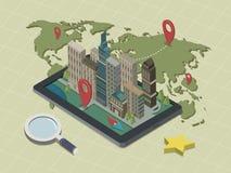 Vlakke 3d isometrische mobiele navigatieillustratie Stock Foto