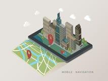Vlakke 3d isometrische mobiele navigatieillustratie Royalty-vrije Stock Afbeelding