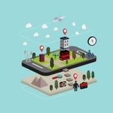 Vlakke 3d isometrische mobiele navigatieillustratie Royalty-vrije Stock Fotografie