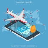 Vlakke 3d isometrische online mobiele vliegtuig instapkaart Royalty-vrije Stock Fotografie