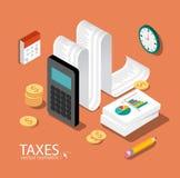 Vlakke 3d isometrische ontwerpconcepten voor zaken en financiën royalty-vrije illustratie