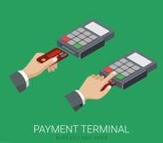 Vlakke 3d isometrische POS van de creditcardbetaling eindspeldcode Stock Fotografie