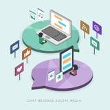 Vlakke 3d isometrische sociale media conceptenillustratie Royalty-vrije Stock Foto's
