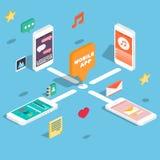 Vlakke 3d isometrische telefoons met het concept van de gebruikersinterfaceontwikkeling Stock Afbeelding