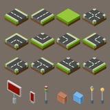 Vlakke 3d isometrische van de tegelspictogrammen van het straatspel infographic het conceptenreeks De elementen van de stadskaart Royalty-vrije Stock Foto's