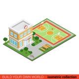 Vlakke 3d isometrische vector de schoolbouw grafische stadioninformatie Stock Afbeeldingen