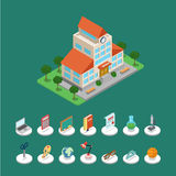 Vlakke 3d isometrische vector de schoolbouw infographics Stock Foto