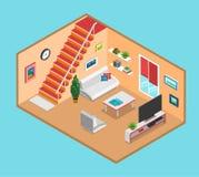 Vlakke 3d isometrische vectorinfographics van het woonkamer binnenlandse Web Stock Fotografie