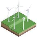 Vlakke 3d Vector isometrische illustratie De turbines van de wind, geel gebied Windmolens bij zonsopgang De energie van Eco Stock Foto's