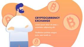 Vlakke de Banner Vectorlay-out van de Cryptocurrencyuitwisseling stock illustratie