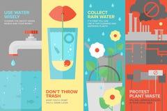 Vlakke de bannerreeks van waterbesparingen Royalty-vrije Stock Afbeeldingen