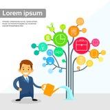 Vlakke de Boom van zakenmanwatering business icon Stock Fotografie