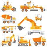Vlakke de bouwmachines van het kleuren vectorpictogram die met bulldozer, kraan, vrachtwagen, graafwerktuig, vorkheftruck, cement stock illustratie