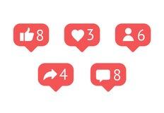 Vlakke de classificatiepictogrammen van het ontwerp sociale netwerk Stock Foto's