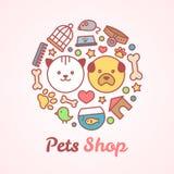Vlakke de dierenwinkelillustratie van de lijnstijl in de vorm van een cirkel Voor dierenwinkel of het veterinaire concept van het Royalty-vrije Stock Afbeeldingen