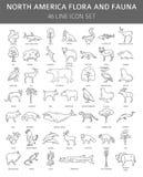 Vlakke de flora en de faunaelementen van Noord-Amerika Dieren, vogels en vector illustratie