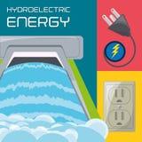 Vlakke de generatorenergie, stop en connecter pictogram van de concepten hydroelectry installatie Vector Illustratie