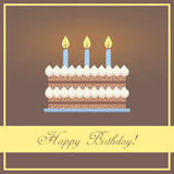 Vlakke de Groetkaart van de Ontwerp Gelukkige Verjaardag met Stock Afbeeldingen