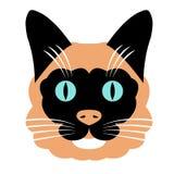 Vlakke de kleuren vectorstijl van het katten hoofdgezicht Royalty-vrije Stock Foto