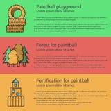 Vlakke de kleurenillustratie van de Paintballspeelplaats royalty-vrije illustratie