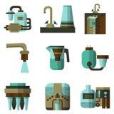 Vlakke de kleurenpictogrammen van waterfilters Stock Foto