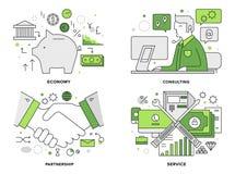 Vlakke de lijnillustratie van de bankwezendiensten stock illustratie