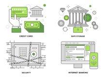 Vlakke de lijnillustratie van de bankwezenveiligheid Stock Afbeeldingen
