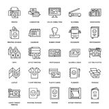 Vlakke de lijnpictogrammen van het drukhuis Het materiaal van de drukwinkel - printer, scanner, gecompenseerde machine, plotter,  vector illustratie