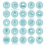 Vlakke de lijnpictogrammen van de make-upschoonheidsverzorging Schoonheidsmiddelenillustraties van lippenstift, mascara, poeder,  stock illustratie