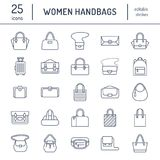 Vlakke de lijnpictogrammen van vrouwenhandtassen Doet crossbody types in zakken -, rugzakken, koppeling, totalisators, zwerver, l stock illustratie