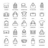 Vlakke de lijnpictogrammen van vrouwenhandtassen Doet crossbody types in zakken -, rugzakken, koppeling, totalisators, zwerver, l royalty-vrije illustratie