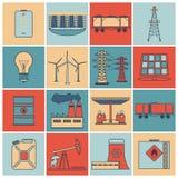 Vlakke de lijnreeks van energiepictogrammen stock illustratie